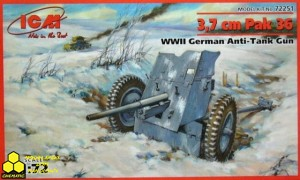 Icm 72251 3,7 cm Pak 36 WWII German Anti-Tank Gun