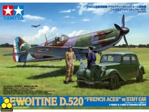 "Tamiya 61109 Dewoitine D.520 ""French Aces"" w/Staff Car"