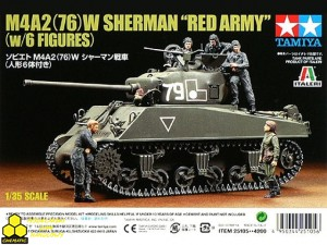 "Tamiya 25105 M4A2 (76)W Sherman ""RED ARMY"" w/6figures"